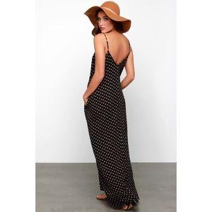 LULUS   Yours Tule Black Floral Print Maxi Dress